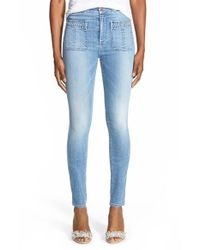 7 For All Mankind | Blue Braided Skinny Jeans | Lyst