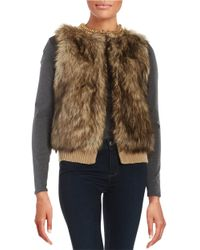 MICHAEL Michael Kors | Natural Chain-accented Faux Fur And Knit Vest | Lyst