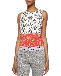 Etro - Pink Stenciled Orchid-print Cashmere-blend Top - Lyst