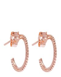 Alex Monroe - Pink Small Rose Gold-plated Granulated Wire Ivy Leaf Hoop Earrings - Lyst