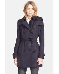 Burberry Brit - Blue Women'S 'Reymoore' Trench Coat With Detachable Hood & Liner - Lyst