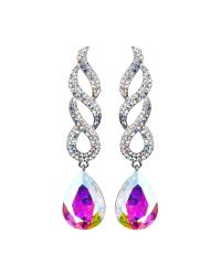 Mikey | Metallic Twisted Dsgn + Drop Crystal Earring | Lyst