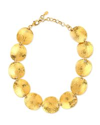 Jose & Maria Barrera | Metallic Gold-plated Hammered Disc Necklace | Lyst