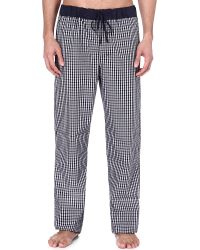 Hanro - Black Checked Cotton Trousers - Lyst