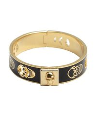 Alexander McQueen | Black And Gold Pierced Skull Bangle | Lyst
