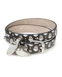 Alexander McQueen | Black Skull Print Leather Wrap Bracelet for Men | Lyst