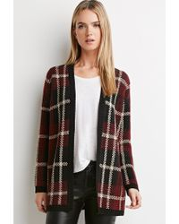 Forever 21 | Black Plaid Open-front Cardigan | Lyst