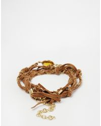 Mango | Brown Crystal Leather And Chain Bracelet | Lyst