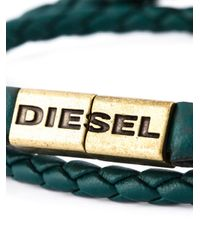 DIESEL | Green Braided Bracelet for Men | Lyst