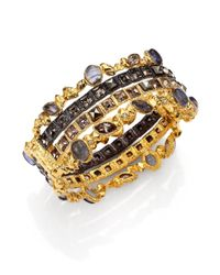 Alexis Bittar - Metallic Elements Phoenix Labradorite & Crystal Large Stacked Bracelet - Lyst