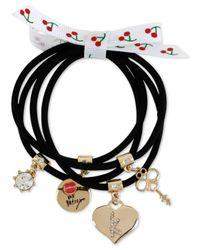 Betsey Johnson | Gold-tone Black Stretch Charm Bracelets | Lyst