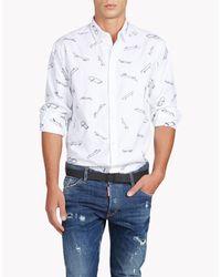 DSquared² | White All Over Skate Shirt for Men | Lyst