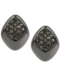 Kenneth Cole - Black Pavé Crystal & Hematite-tone Stud Earrings - Lyst
