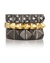Noir Jewelry | Metallic Set Of Three Gunmetal-Plated And Gold-Plated Rings | Lyst