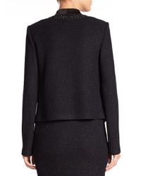 St. John - Black Sequin-trimmed Knit Jacket - Lyst