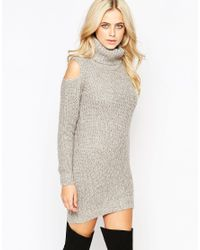 Fashion Union - Gray Roll Neck Ribbed Mini Dress With Open Shoulder - Lyst