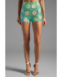 Wildfox - White Label Psychedelic Daisies Sequin Shorts in Green - Lyst