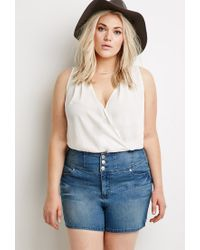 Forever 21 | Blue Faded High-waisted Denim Shorts | Lyst