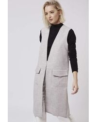 TOPSHOP | Natural Raw Edge Sleeveless Jacket | Lyst