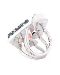 Eshvi | Metallic Geometric Shapes Ring | Lyst