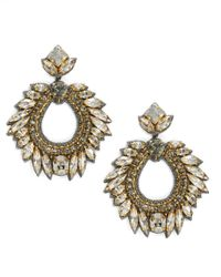 Deepa Gurnani | Metallic Fiesta Bonita Nappa Leather And Crystal Loop Drop Earrings | Lyst