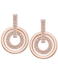 Swarovski - Pink Rose Gold-tone Pavè Crystal Circle Drop Earrings - Lyst