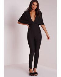 Missguided | Cape Style Jumpsuit Black | Lyst