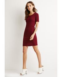 Forever 21 - Purple Ribbed Knit Bodycon Dress - Lyst