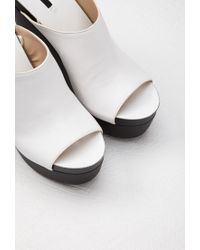 Forever 21 | White Faux Leather Platform Wedges | Lyst