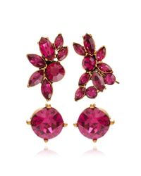 Oscar de la Renta - Navette Crystal Ear Cuff And Earring Duo In Pink - Lyst