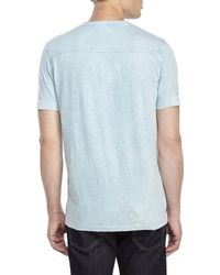 DKNY | Blue Acid Wash Slub Henley for Men | Lyst