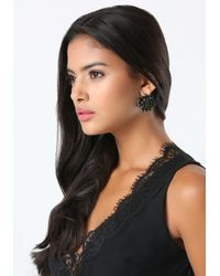 Bebe - Tonal Black Flower Earrings - Lyst