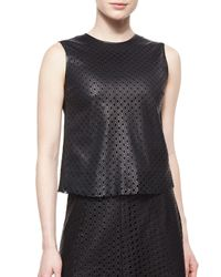 Theory - Black Mowita Laser-Cut Leather Top - Lyst