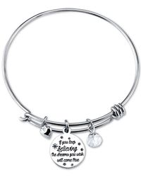 Disney - Metallic Cinderella Cinderella Crystal Charm Bracelet In Sterling Silver - Lyst