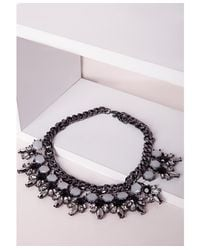 Missguided - Metallic Statement Chunky Pendant Necklace Pewter - Lyst