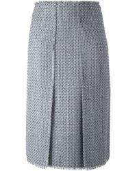 Proenza Schouler - Gray Frayed Bouclé Skirt - Lyst