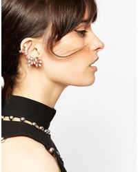 ASOS | Multicolor Mismatch Rose Cluster Ear Cuff And Single Ear Stud | Lyst