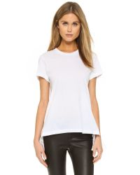 Markus Lupfer | Broderie Anglais Back Peplum Tee - White | Lyst