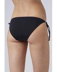 TOPSHOP - Black Heart Tag Tie-side Bikini Bottoms - Lyst
