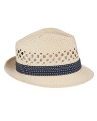 c34e198e31aac2 Ted Baker Delmont Straw Trilby Hat in Natural for Men - Lyst