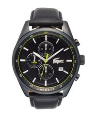 Lacoste - Black 'dublin' Chronograph Leather Strap Watch for Men - Lyst