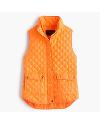 J.Crew | Orange Petite Shiny Quilted Field Puffer Vest | Lyst