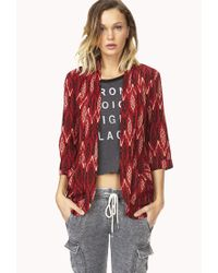 Forever 21 - Red Eclectic Ikat Woven Cardigan - Lyst