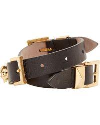 Alexander McQueen - Black Leather Double_wrap Bracelet - Lyst