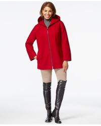 London Fog | Red Plus Size Hooded Zipper-front Coat | Lyst