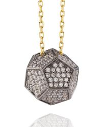 Noor Fares - Metallic Solid Dodecahedron Pendant in Yellow Blackened Gold and White Diamonds - Lyst