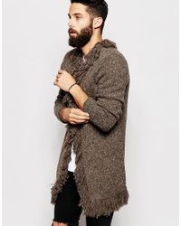 ASOS - Gray Fringed Longline Cardigan for Men - Lyst