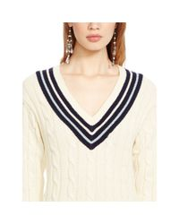 Polo Ralph Lauren | Natural Cotton V-neck Cricket Sweater | Lyst