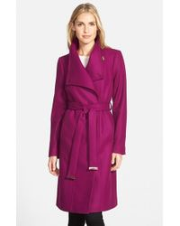 Ted Baker | Purple Funnel Neck Wool Blend Wrap Coat | Lyst