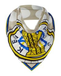 KENZO | White Double Medallions Silk Long Scarf | Lyst